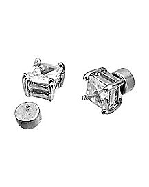 Square CZ Magnetic Fake Stud Earrings
