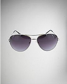 Metal Aviator Sunglasses-Silver