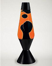 Lava Lamp - 16 inch Orange Liquid Black Wax