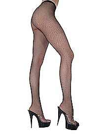 Seamless Fishnet Tights - Black