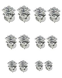 Square Clear C Stud Earrings 12 Pack