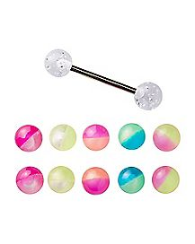 Glitter Barbell with Extra Balls - 14 Gauge