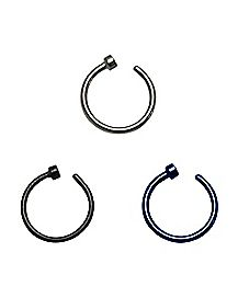 18 Gauge Hoop Nose Ring 3 Pack - Black & Blue