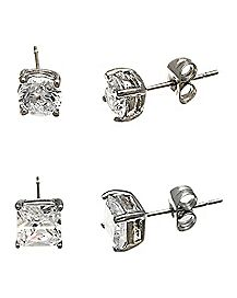 Round and Square CZ Stud Earrings - 2 Pair