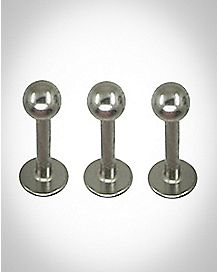 Plain Ball Labret Lip Ring 3 Pack -  14 Gauge