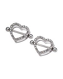 Heart CZ Nipple Shields - 14 Gauge