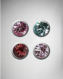 Bioflex Multi-Color CZ Labret Lip Ring 4 Pack - 16 Gauge