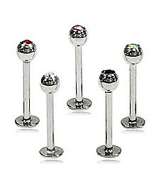 Labret Lip Ring 5 Pack - 16 Gauge