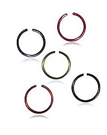 20 Gauge Hoop Nose Ring 5 Pk - Purple & Black