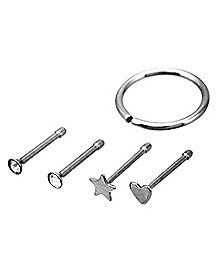Nose Ring 5 Pack - 18 Gauge