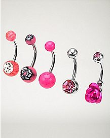 Pink Flower Belly Ring 5 Pack - 14 Gauge