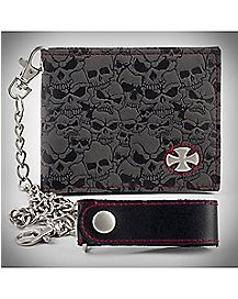 Iron Cross Skull Chain Wallet