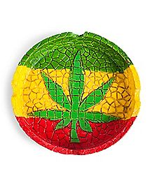 Mosaic Rasta Leaf Ashtray - Polystone