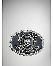 Skull Black Oval Plaque Belt Buckle