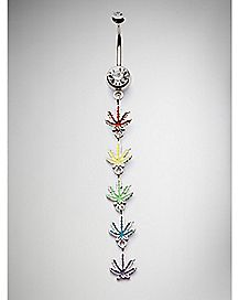 Rainbow Leaf Dangle Belly Ring - 14 Gauge