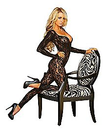 Lace Long Sleeve Crotchless Bodystocking - Hustler