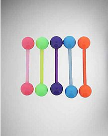 14 Gauge Neon Orange,Green, Pink, Blue and Purple Barbell 5 Pk