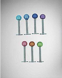 Multi Color Labret Lip Ring 7 Pack - 16 Gauge