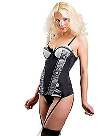 Satin and Floral Lace Corset and G-String Set