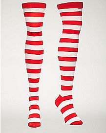 Stripe Over The Knee Socks Red/White