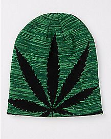 Pot Leaf Reversible Knit Beanie Hat