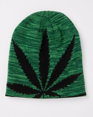 Pot Leaf Reversible Knit Beanie Hat - Spencers
