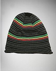 Rasta Knit Slouch Beanie Hat