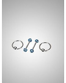 Blue Captive Nipple Ring Set 4 Pack - 14 Gauge