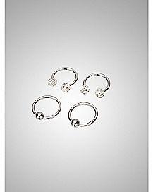 CZ Captive Nipple Ring Set 4 Pack - 14 Gauge