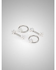 Gem Star Captive Nipple Ring Set 4 Pack - 14 Gauge