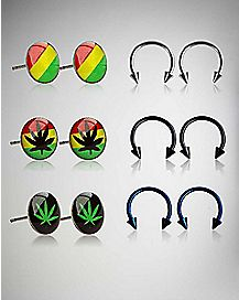 Rasta Pot Leaf Studs & Black & Blue Horseshoe Earrings 6-Pack