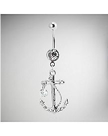 Anchor Dangle Belly Ring - 14 Gauge