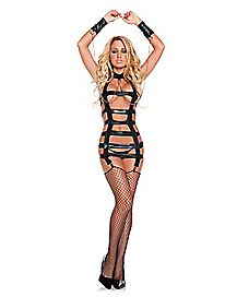 Cage Dress and Thong with Wrist Restraints