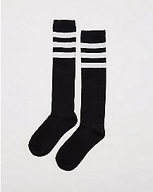 Athletic Stripe Knee High Socks Black & White