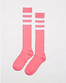 Athletic Stripe Knee High Socks Hot Pink & White