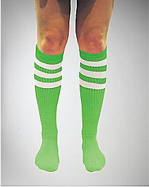 Neon Green & White Athletic Stripe Knee High Socks