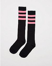 Athletic Stripe Knee High Socks Black & Hot Pink