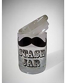 Mustache Storage Jar - Glass