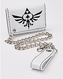 Embossed Zelda Trifold Chain Wallet White