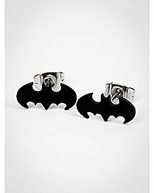 Cut Logo Batman Stud Earrings - Black