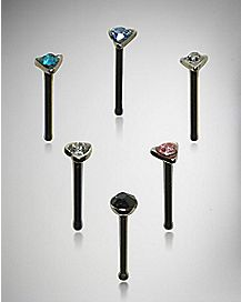 20 Gauge Colored Stud Nose Ring 6 Pack
