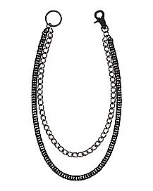 Matte Black Double Row Hematite Wallet Chain 24