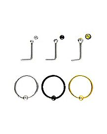 20 Gauge Colored Nose Ring 6 Pack