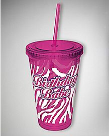 Birthday Babe Zebra Cup with Straw