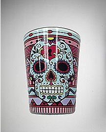 Sugar Skull with Key Shot Glass 3 oz