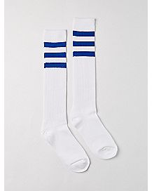 Athletic Stripe Knee High Socks White And Blue