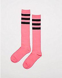 Athletic Stripe Knee High Socks Hot Pink And Black