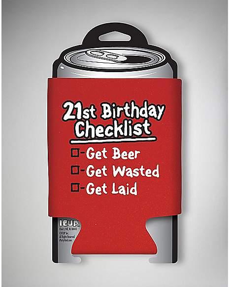 21st Birthday Checklist Can Cooler