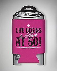 Life Begins to Rock at 50 Birthday Can Cooler