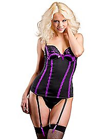 Satin and Lace Corset and G-String Panties Set